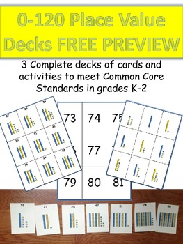Place Value Decks numbers 0-120 FREE PREVIEW