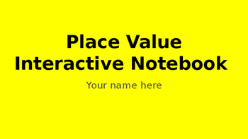 Place Value Digital Interactive Notebook