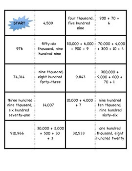 Place Value Dominoes within 1,000,000