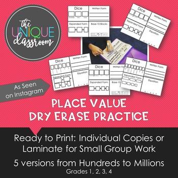 Place Value Dry Erase Practice Grades 2-4