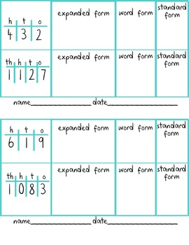 Place Value Exit Ticket