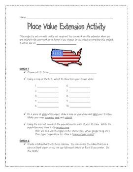 Place Value Extension Activity