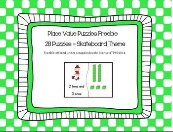Place Value Freebie - Skateboard theme