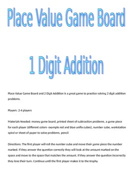 Place Value Game Board and 1 Digit Addition