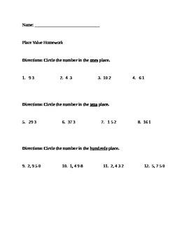 Place Value Homework