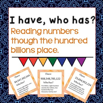 Place Value- Hundred Billions I Have Who Has Game.