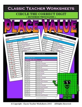 Place Value-Hundred Thousands to Ones-Circle Correct Digit