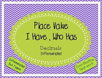 Place Value Game - I Have Who Has - Decimals
