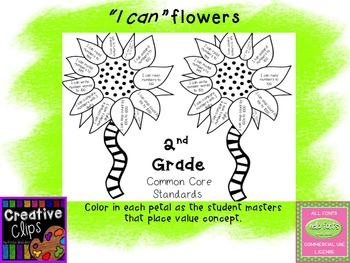 """Place Value """"I can"""" statement flowers"""
