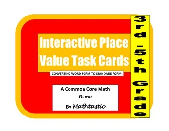 Place Value Interactive/Hands-On Task Cards (Understanding