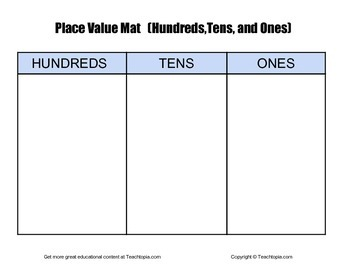 Place Value Mat with Hundreds, Tens & Ones  Place Value w