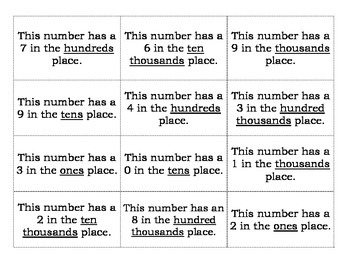 Place Value Matching Memory Game