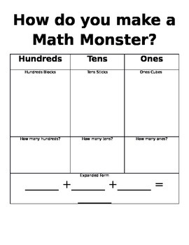 Place Value Math Monsters