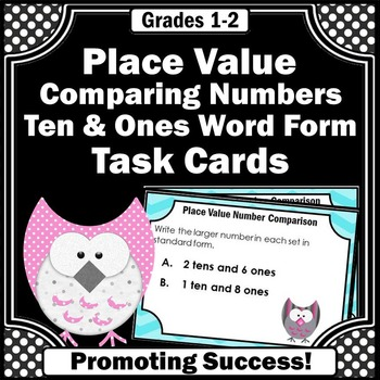 owls math comparing numbers task cards games