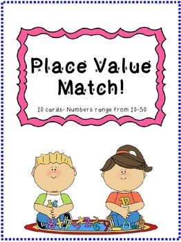 Place Value Memory- Match Game (Numbers from 10-50)