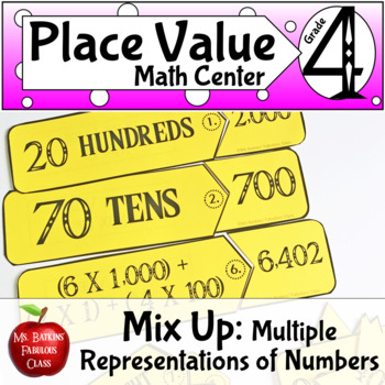 Place Value Mix Up Math Center with Expanded Form and Numb