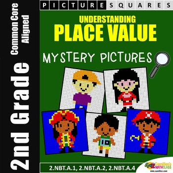 Place Value (2nd Grade) Activities, Mystery Pictures Worksheets