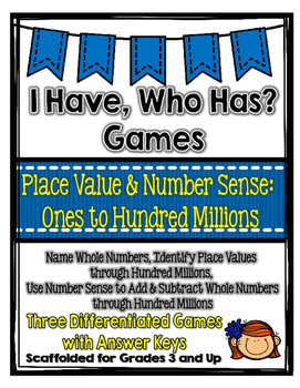 Place Value & Number Sense Games (Ones to Hundred Millions