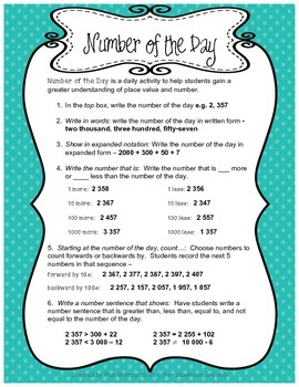 Place Value Number of the Day Worksheet