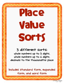 Place Value Pack - Three Sorts in One!