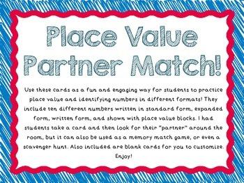 Place Value Partner Match Activity