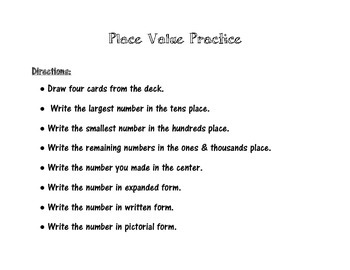 Place Value Practice Game