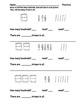 Place Value Practice Pack: Ones, Tens, Hundreds: Supports