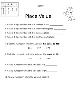 Place Value Practice Printable