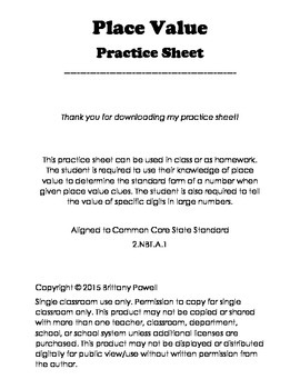 Place Value Practice Sheet