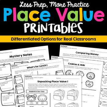 Place Value Printable Pack (No Prep Differentiation)