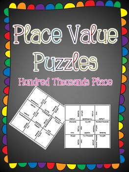 Place Value Puzzles- Hundred Thousands