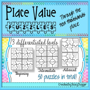 Differentiated Place Value Puzzles to the Ten Thousands Place