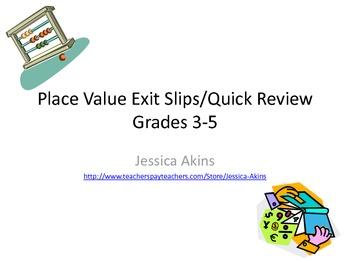 Place Value Quick Review/Exit Slips
