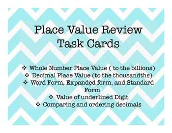 Place Value Review Task Cards