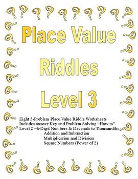 Place Value Riddles Level 3 (Up to Hundred Thousands and D