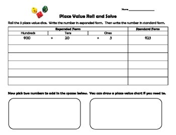 Place Value Roll and Solve
