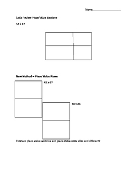 Place Value Sections and Rows