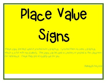 Place Value Signs 5th Grade