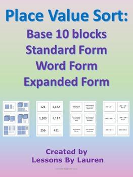 Place Value Sort - Base 10, Standard Form, Word Form, Expa