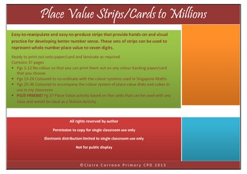 Place Value Strips/Cards to Millions