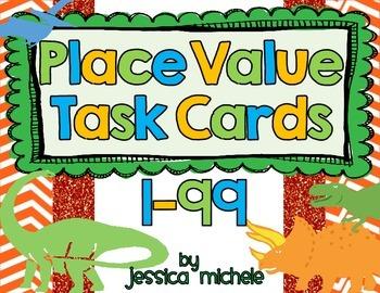 Place Value Task Cards 1-99 {Dinosaur Theme}