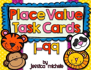 Place Value Task Cards 1-99 {Zoo Animal Theme}
