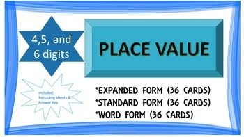 Place Value Task Cards (4,5, and 6 digit numbers)