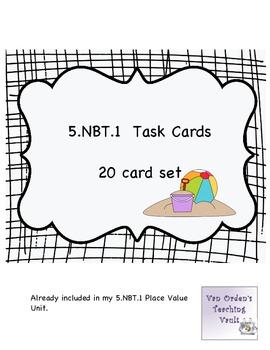 Place Value Task Cards Common Core 5.NBT.1