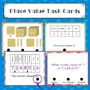 Place Value Task Cards/ Flash Cards: Word Problems etc