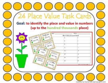Place Value Task Cards- Hundred Thousands