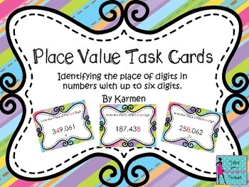 Place Value Task Cards: Identifying the Place in 6 digit numerals