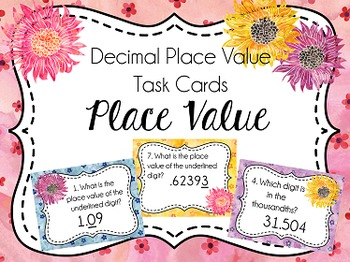 Place Value Task Cards: Place Value, Decimal Numbers