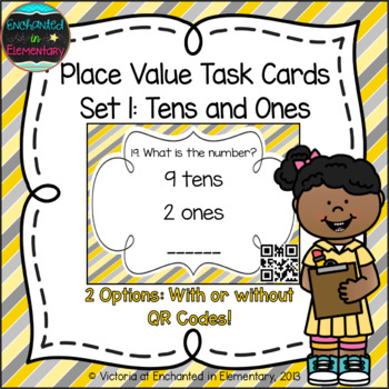 Place Value Task Cards Set 1:Tens and Ones: 1st Grade CC: