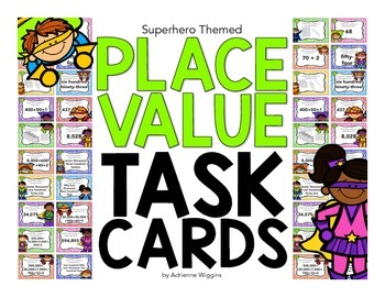 Place Value Task Cards - Superhero Theme
